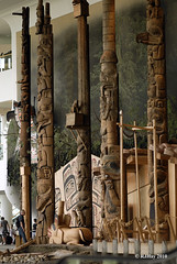 Tall totems in front of Haida house - Grand Hall - Museum of Civilization
