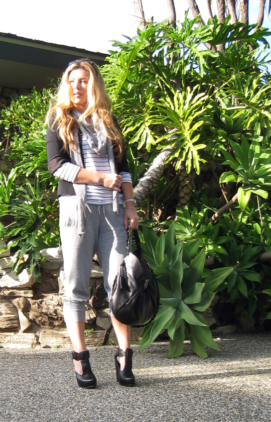 giant succulents+sweatpant dressing+fashion sweats+striped top+long blonde hair+ferragamo bag+velvet angels shoes