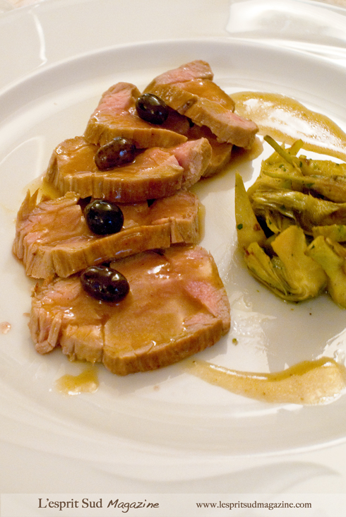 Roasted lamb with young artichokes