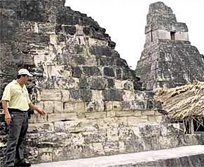 Tikal, Guatemala - José Sánchez, director of Parque Tikal shows some of the damages