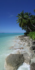 Diego Garcia Pano (spitfireap) Tags: ocean panorama beach rocks pentax indian diego palm shore tropical optio garcia