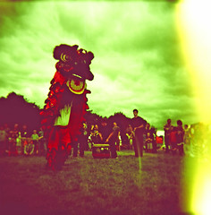 lion stands and exposes edge of photo (Melmoth the Wanderer) Tags: ragged hedge raggedhedge holga expired film chinese lion festival 120 xpro cross process crossprocess kodak lightleak