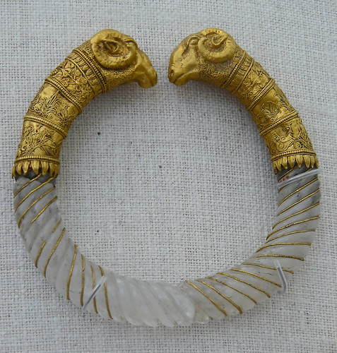 Bracelet of rock crystal with gold rams heads Greek part of the Ganymede Jewelry collection 330-300 BCE