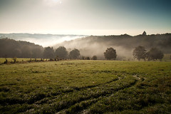 Tal der Wupper im Nebel / Wupper Valley in the mist (Herr Olsen) Tags: morning mist fog germany landscape early nebel hills berge dew tau landschaft morgen burg solingen dunst wupper