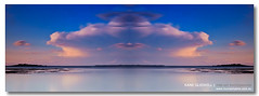 o----O----o ([ Kane ]) Tags: ocean pink blue sunset art water clouds port photoshop reflections photography mirror dusk australia brisbane qld queensland kane mirrow wellingtonpoint gledhill kanegledhill