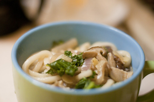 Udon with Shiitakes and Kale in Miso Broth
