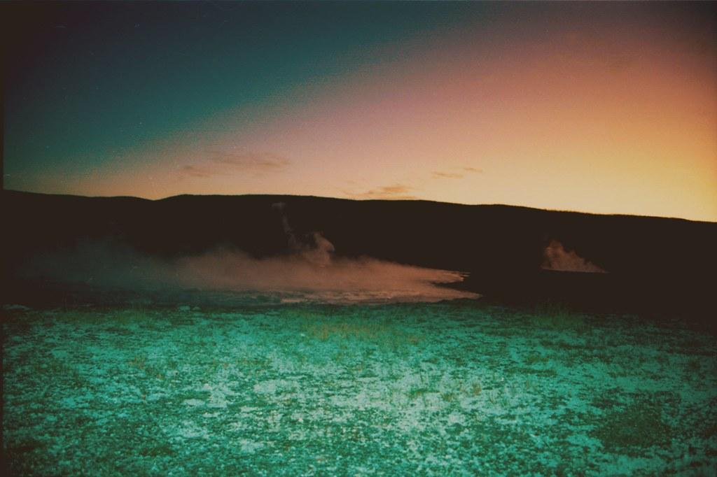 geyser-sunset