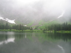 Heather Lake (Ryan Hadley) Tags: trees cliff usa lake snow mountains reflection nature fog forest washington hiking rockface cascades alpinelake northcascades heatherlake mountpilchuck mountbakersnoqualmienationalforest cascadesmountains