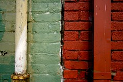 Hey Quick Question (Jeremy Brooks) Tags: sanfrancisco california red brick green colors wall contrast alley pipe