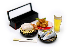 Sushi Time (Devin Kho) Tags: food beer japan devin sushi toy japanese sashimi olympus whitebackground tempura e500 zd 1454mm