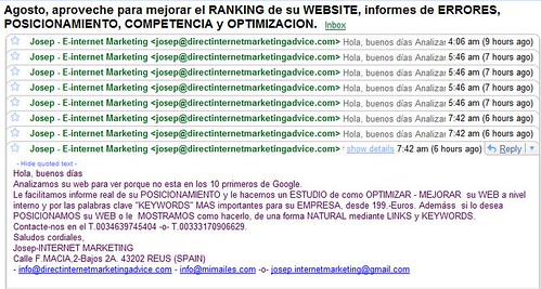 SPAM de Josep Internet Marketing