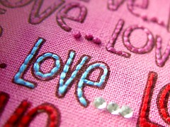 'I love you more...' felt art close up (a little bit of just because) Tags: pink buttons felt etsy rhinestones handstitch fabricpaper