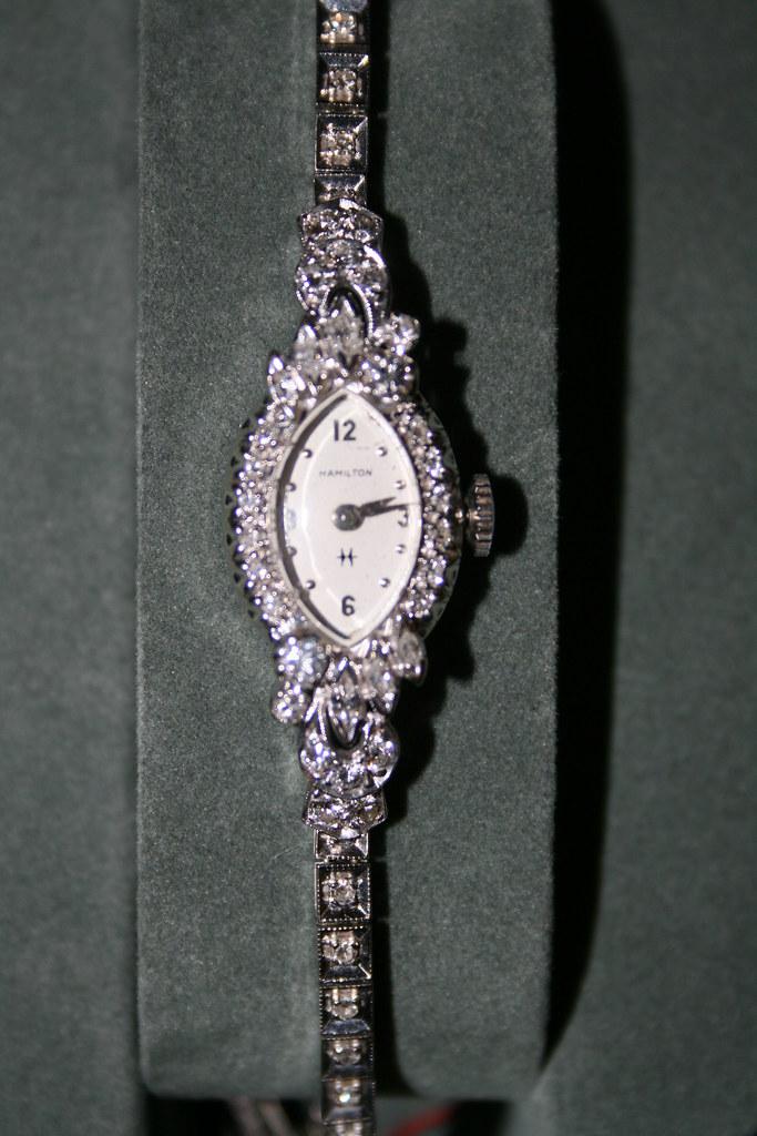 Antique Hamilton Watch in White Gold & Diamonds