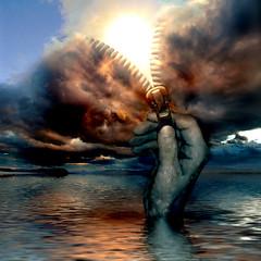 Poseidon unzipping an ocean storm