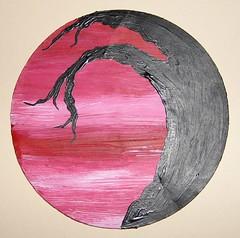 Red Sky - a circular art card