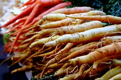 orange and white carrots