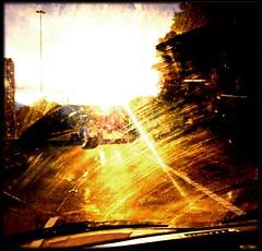Gold is in your eyes (Mayastar) Tags: road cars motorway strade sunray whiledriving runtothesun goingwest afterthegoldrush oneofmyfavourite alchemica mayastar sunsetonthem8 goldisinyoureyes glasgowmotorwaym8 mayastarphotography