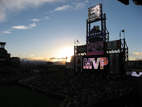 Sunset and scoreboard in Denver