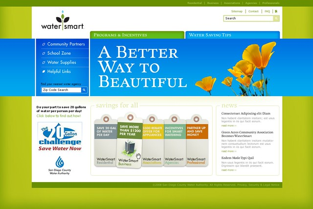 San Diego County Water Authority - WaterSmart Website by tenfour archive