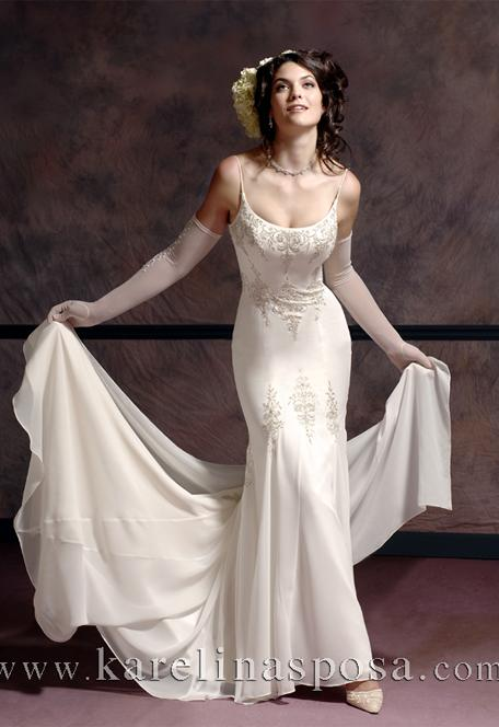 Wedding gown of silk with shoulder strap
