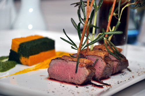 Roasted Lamb Loin COated with Macadamia Nut served with Spinacn and Carrot Terrine