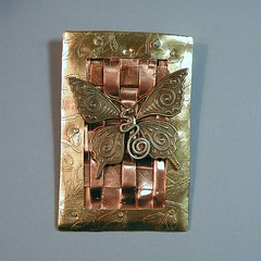 Etched brass, woven copper pin