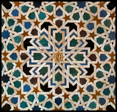Islamic patterns: The Alhambra, Granada (Sir Cam) Tags: spain patterns andalucia alhambra granada moors geometrical muslims islamic arabs alandalus eightpointstar nasirids