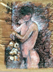 Garçon aux fleurs (jacques.deneux) Tags: flowers boy people color colour cute male art beautiful face youth ink fleurs painting naked nude model nu body drawing candid aquarelle handsome posed hunk dessin thighs solo figure torso frontal staged stud fit eyecandy garçon physique encre nudemale darkhaired