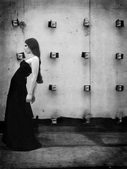Untitled no. 1 (ljosberinn) Tags: light blackandwhite fashion wall model raw dress surreal editorial forms conceptual abandonedbuilding halla chercherlafemme ilikecomments