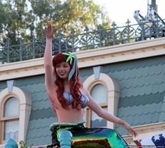 Waving Mermaid (Eclipse Pics (ncient)) Tags: california 20d canon eos disneyland unitedstatesofamerica disney parade mermaid dslr 28135is disneyparade disneycastmember aniheim