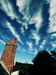 Cirrus fibratus radiatus (s0ulsurfing) Tags: blue roof light chimney sky cloud sunlight tree beautiful weather clouds wonderful island amazing fantastic skies bright wind suburban patterns bricks wide wideangle formation isleofwight isle chimneys wight lookingback cirrus 2007 feathery 10mm naturesfinest sigma1020 intortus s0ulsurfing thecloudappreciationsociety radiatus aplusphoto cloudspottersguide fibratus top20blue cirrusfibratusradiatus