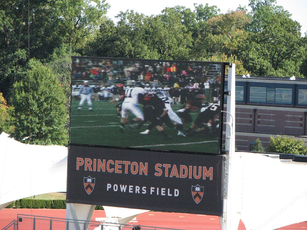 The new scoreboard at Princeton Stadium