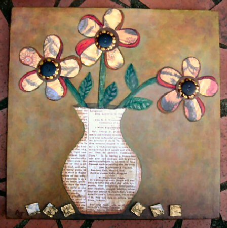 Funky Flowers - collage folk art. An original folk art design by artist Amy