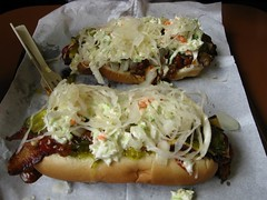 Two Half Smokes with Everything (Corned Beef?) (becklectic) Tags: usa cheese oakland hotdog bacon chili pittsburgh ketchup pennsylvania sauerkraut onions relish mustard pickles 100 roger 2008 heartburn coleslaw msh hotpeppers notmydog theoriginal views100 230countries 230countriesusa dirtyos travellersworld worldtrekker msh0314 msh1211 msh121116 msh0913 msh09137 msh031410