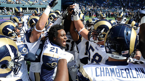 Atogwe fires up the pre-game huddle. Photo from stlouisrams.com