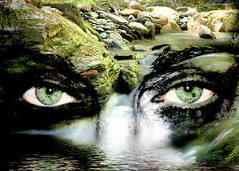~ River Debono ~ (ViaMoi) Tags: woman canada eye water stone creek photoshop flow eyes quebec georgeville viamoi s2wrap