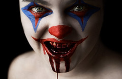 Day Three Six Two (Lou Bert) Tags: portrait art halloween girl face make up self costume blood paint clown makeup explore killer facepaint frontpage