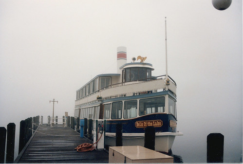Heavy fog at the sightseeing boat landings. Lake Geneva Wisconsin. October 1986. by Eddie from Chicago