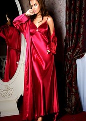 Red Satin Chemise and Wrap (Sabrina Satin1) Tags: satin crossdresser effeminate crossdressingfantasy