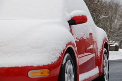 Red VW Bug in the snow (mn3guy) Tags: vw bug beatle volkswagon
