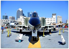 Fighter Jet F-4 Phantom II on the Flight Deck of the USS Midway Aircraft Carrier, San Diego, California (Scandblue) Tags: history airplane harbor fighter sandiego harbour aviation military jet historic maritime aircraftcarrier midway usnavy f4 flightdeck warbird warplane ussmidway navalaviation navyship fighterjet phantomii warvessel historicships cv41 navyvessel