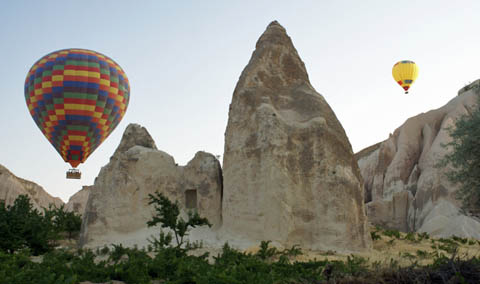 rose valley cappadocia morning walk (hot air balloons)