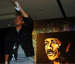 David Garibaldi Live Cheering the crowd (Ricardo Carreon) Tags: california ca music usa art paint artist live sanjose painter performer carlossantana davidgaribaldi