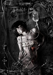 wounded machinery (Marcela Bolvar) Tags: illustration photomanipulation dark photography robot hurt hole heart wounded digitalart injury machine machinery digitalpainting mysterious metropolis rotten injured decrepitude woundedmachinery rottenheart graydecay marcelabolivar