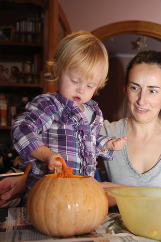 Cleaning Pumpkin Innards