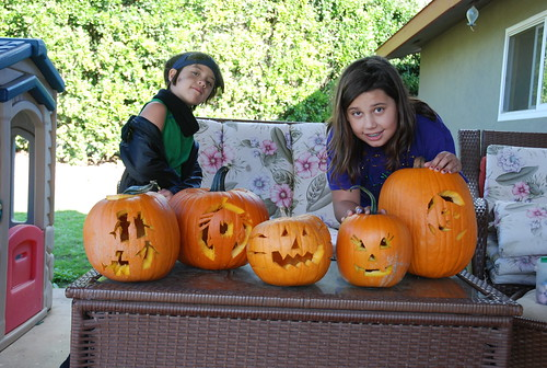 the girls & their pumpkins