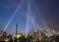 pulse front (-stacey-) Tags: toronto night cntower harbourfront lightshow 72 tpmg luminato wwwstaceykinkaidcom gettyimagescanada