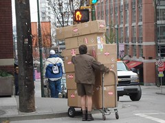 What can brown do for you? (mag3737) Tags: brown sign truck sticker ups stop backpack yaletown delivery signal fragile handcart