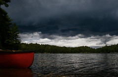 Stormy (The Wadd Squad) Tags: red ontario storm water clouds canoe killarney paddling