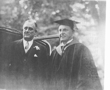 President Roosevelt Poses With MacCracken